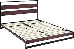 AmazonBasics Aurora Metal and Wood Platform Bed with Headboard - Wood Slat Support, Full