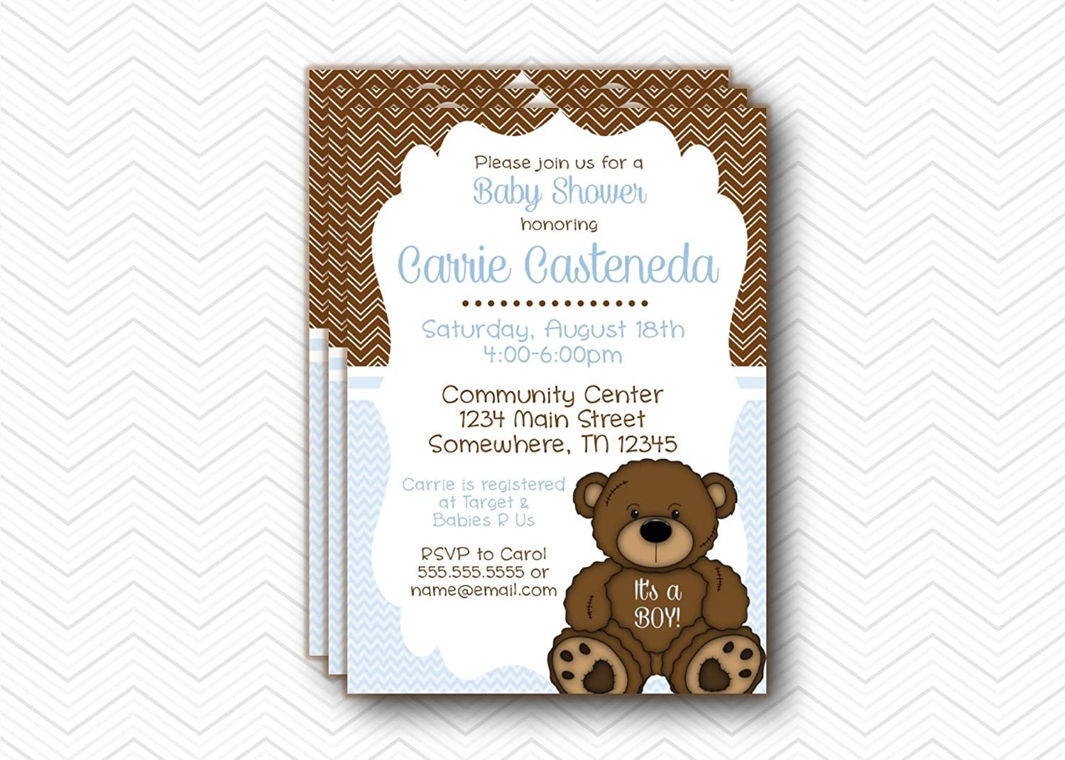 Amazon.com: It's a boy Blue & Brown Teddy Bear Baby Shower invitations. 5x7  with envelopes: Handmade
