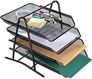 AGPtEK 4 Tiers Black Mesh Filling Desk Letter Paper Storage Tray Organizer for Home & Office Use