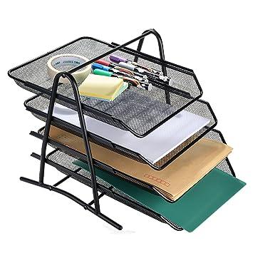 AGPTEK Bandeja Organizadora de Cartas 4 Niveles, Estructura de Malla para Documentos Papeles Archivos Uso en Casa u Oficina - Negra: Amazon.es: Hogar