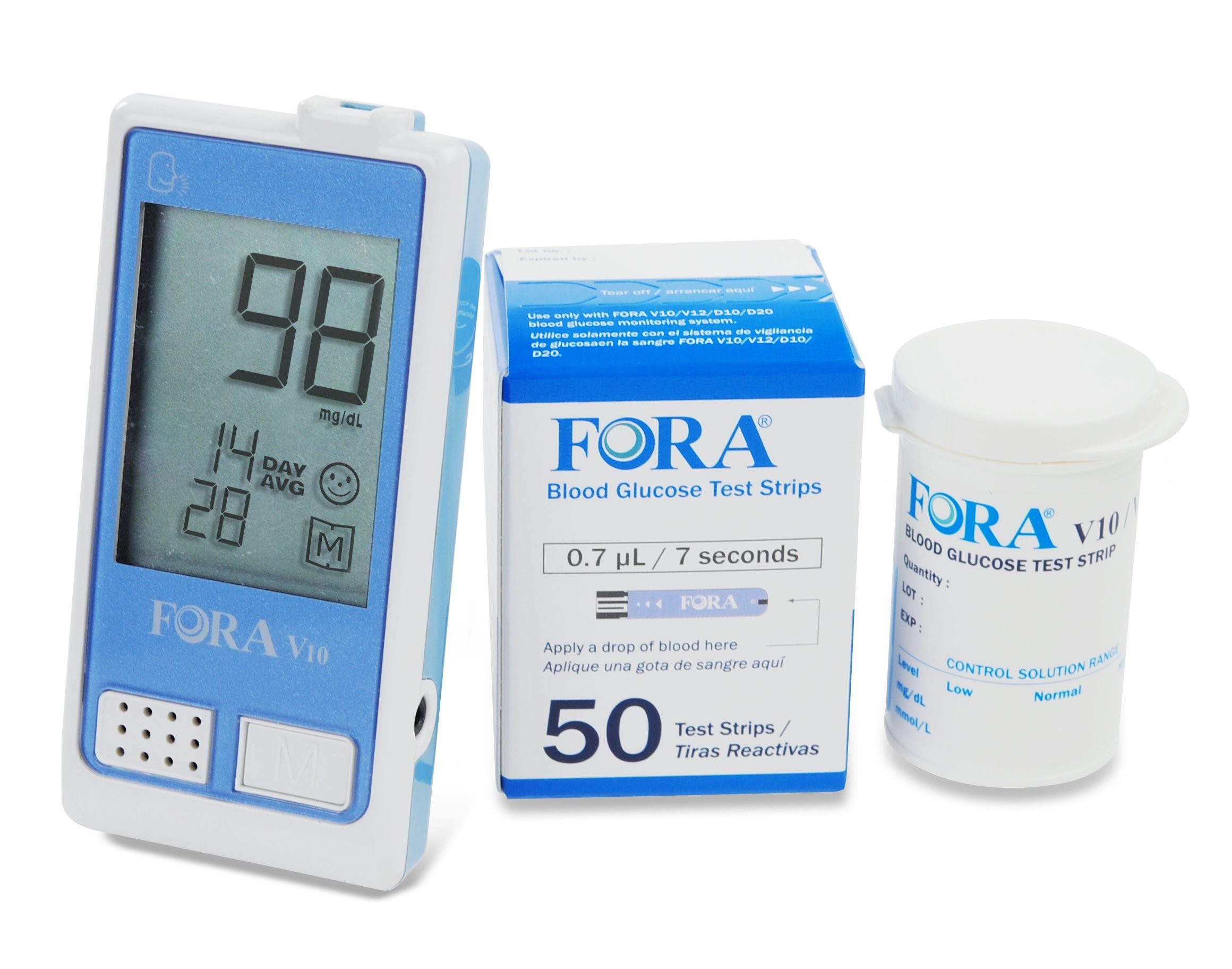 FORA V10 Voice Blood Glucose Monitor Kit with 50 count Test Strips-Bundle