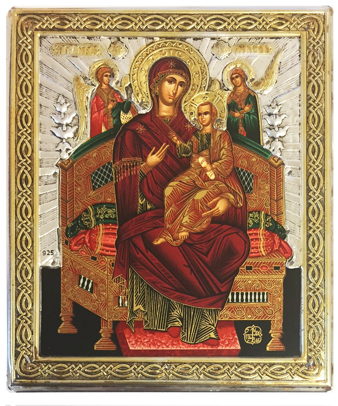 Madonna and Child Tsaritsa Queen of All Icon Greek Serigraph Silver 950 22k Gold Plate 4 3/4 Inch