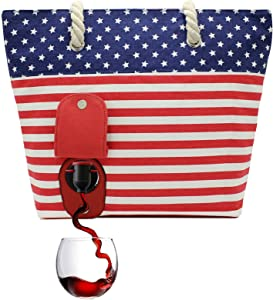 PortoVino Beach Wine Purse (USA) - Beach Tote with Hidden, Insulated Compartment, Holds 2 bottles of Wine! / Great Gift! / Happiness Guaranteed!