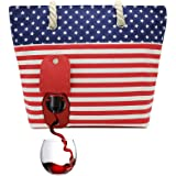 PortoVino Beach Tote (USA) - Wine Purse with Hidden, Insulated Compartment, Holds 2 Bottles of Wine!
