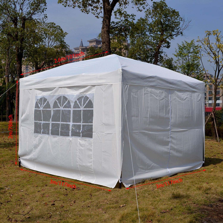 Homdox Tienda Pabellón Carpa 3M*3M con Paredes Laterales y Ventanas Plegables para Fiestas, Eventos, Boda, en Jardín o al Aire Libre, Blanco: Amazon.es: ...
