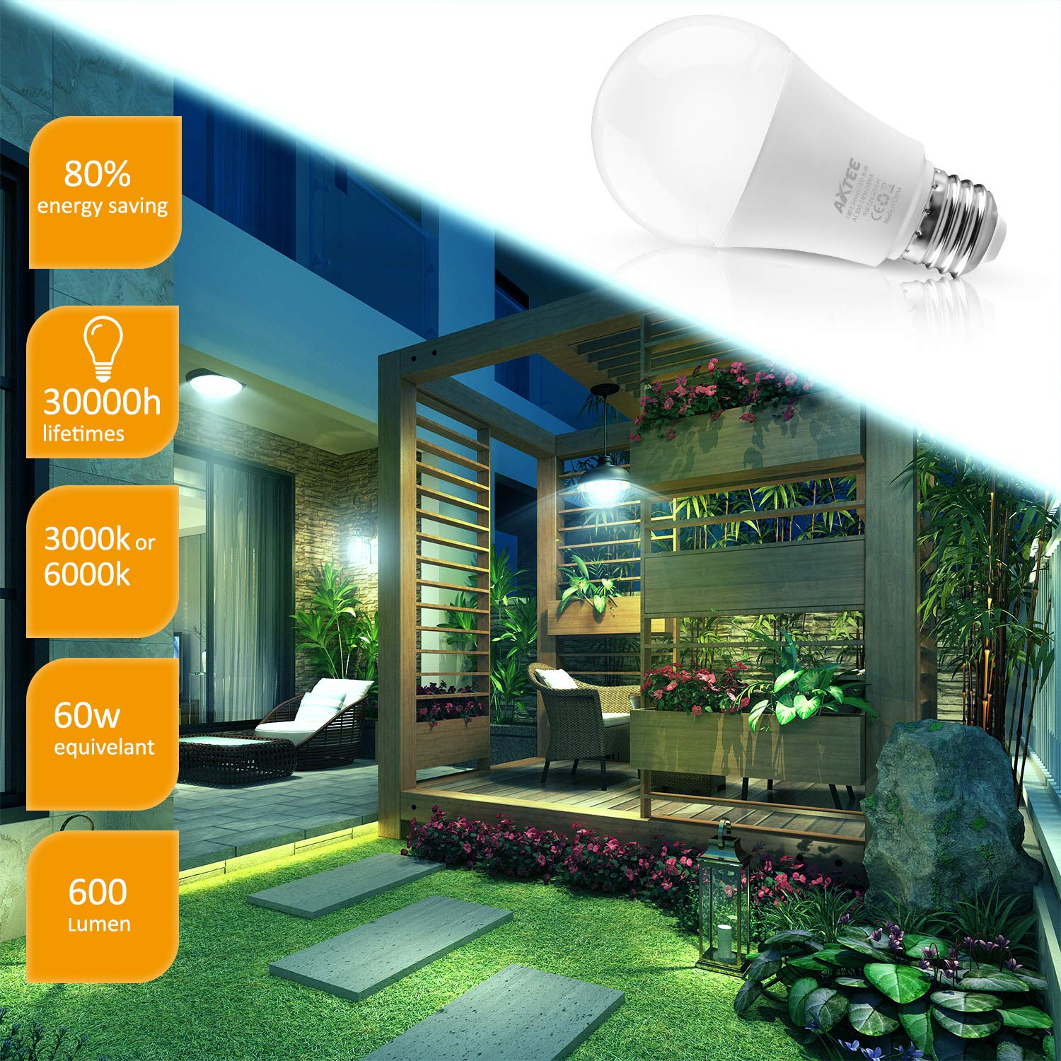 Smart Light Bulb Dusk to Dawn Sensor Led Light Bulbs Indoor/Outdoor E26 Base Socket Auto On/Off Lighting Lamp 9W (6000K, 4 Pack)