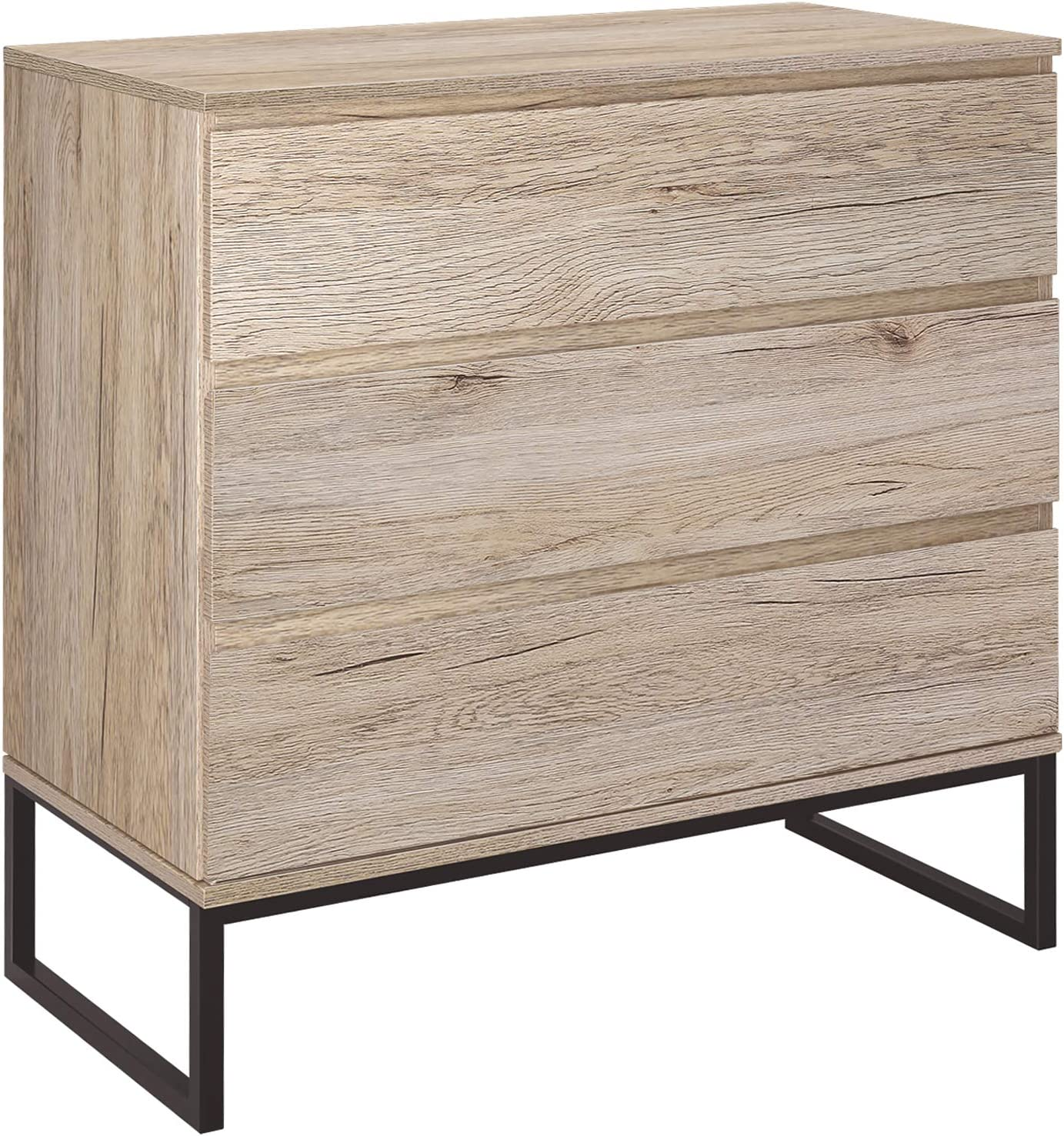 Homfa 3 Drawer Chest, Storage Dresser Cabinet with Steel Legs, Collection Organizer Nightstand Bed Sofa Sideboard Buffet Cabinet, Accent Decor Furniture for Office Home