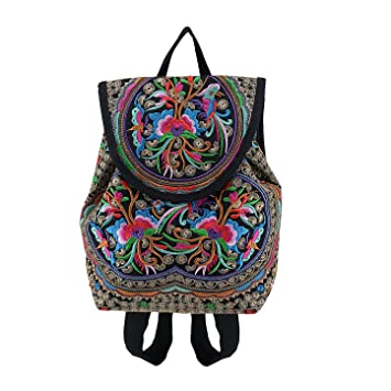 143778e6c7 OFKPO Lady Retro National Wind Bag Handmade Canvas Embroidered Small  Backpack for Travel or School(