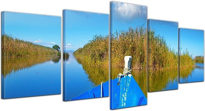 Bilderdepot24 Cuadros en Lienzo Barco Azul en la Albufera - Valencia España - 200x80 cm 5 Piezas - Enmarcado Listo Bastidor Imagen. Directamente Desde el Fabricante: Amazon.es: Hogar
