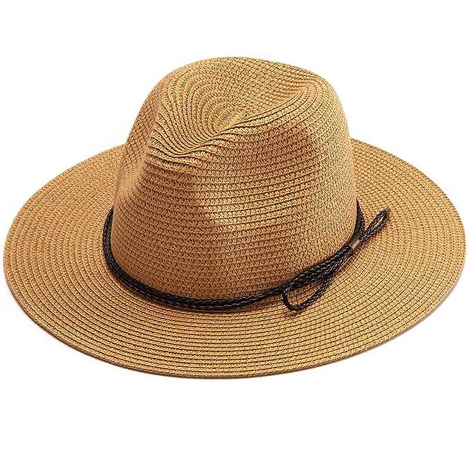 7c669c18 LADYBRO Panama Hat Men Fedora Hat - Khaki Wide Brim Straw Hat Sun Hat Beach  Headwear