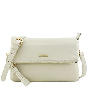 Soft Faux Leather Flap Over Crossbody Bag with Tassel Accent Beige
