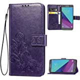 Galaxy J3 2017,J3 Emerge,J3 Prime,J3 Mission,J3 Eclipse Case, [Flower Embossed] PU Leather Wallet Flip Folio Protective Case