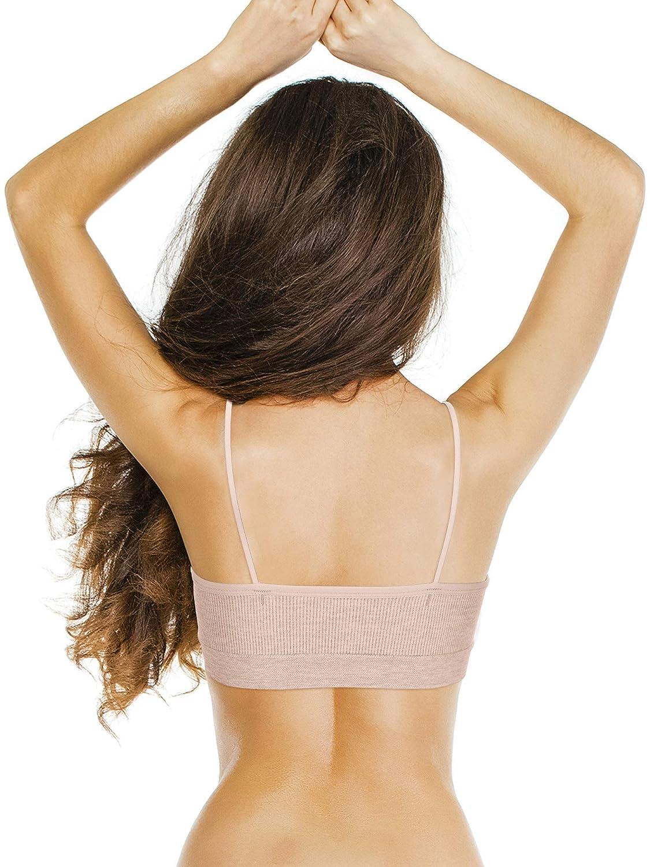 3 Pieces V Neck Tube Top Bra Seamless Padded Camisole Bandeau Sports Bra Sleep Bra with Elastic Straps