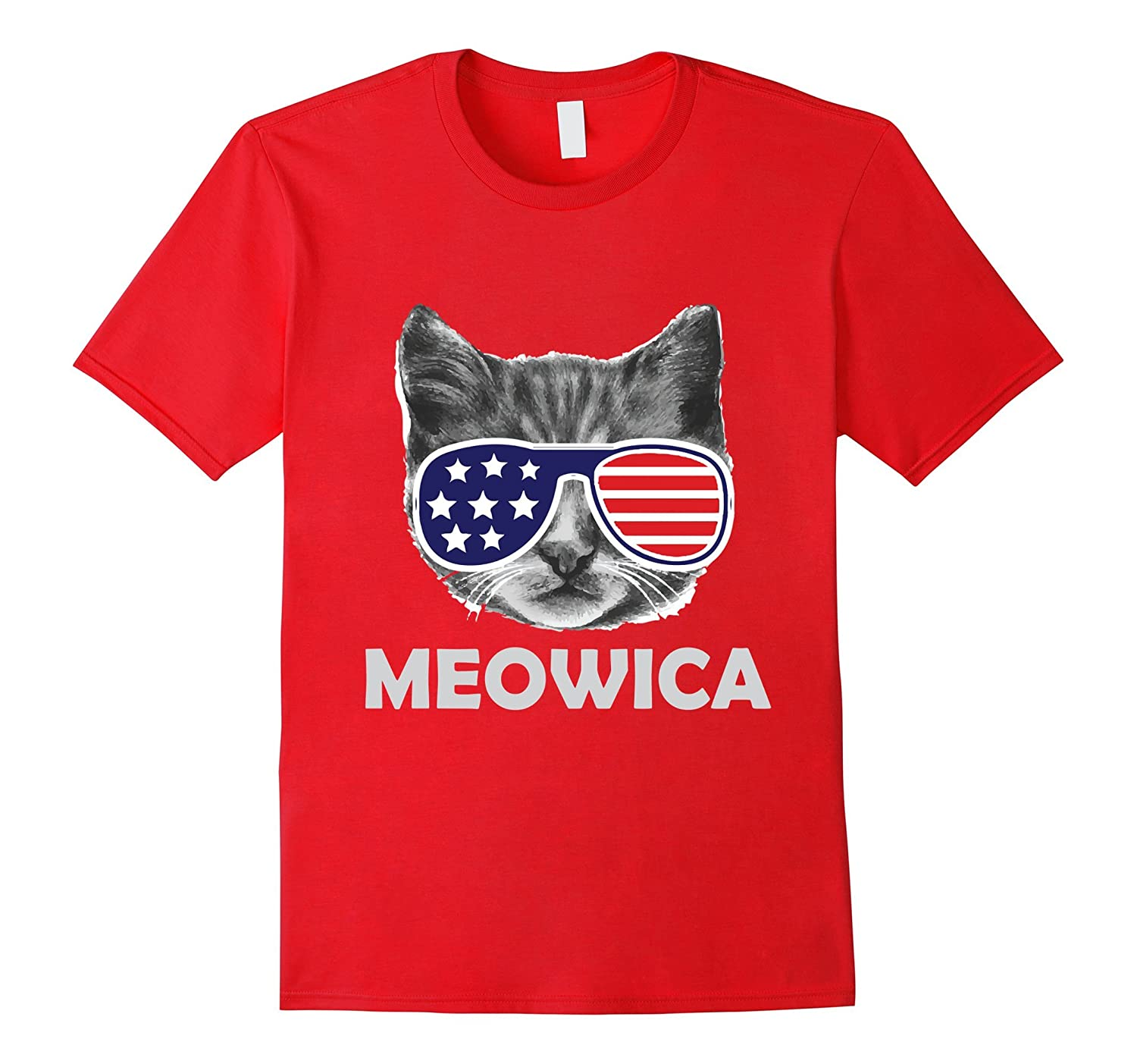4th of July Meowica USA American Cat Funny T-Shirt-PL