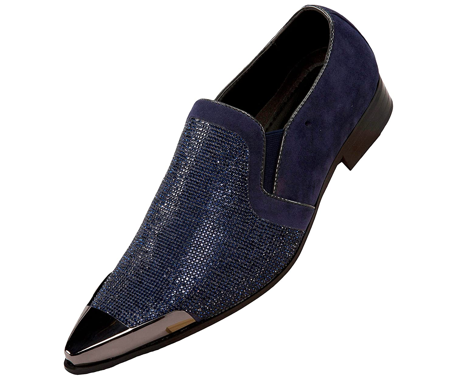 Bolano Mens Rhinestone Embellished and Faux Suede Trim with Metal Tip Dress Shoe, Comfortable Slip-On B07B1GGY44 8.5 D(M) US|Navy
