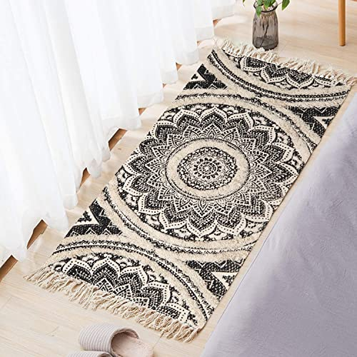 LEEVAN Mandala Area Rug,2.3 x 5.3 Tufting Hand Woven Cream Chic Bohemian Mandala Print Tassels Door Mat,Indoor Floor Area Mat Compatible Bedroom,Living Room,Children Playroom