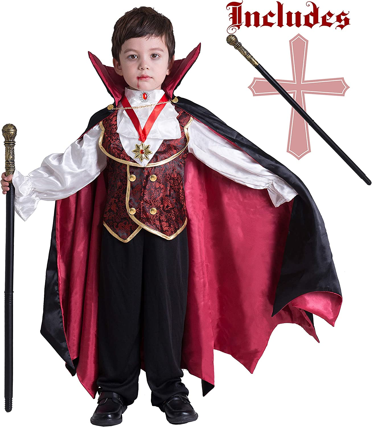 Amazon Com Gothic Vampire Costume Deluxe Set For Boys Kids Halloween Party Favors Dress Up Role Play And Cosplay Clothing