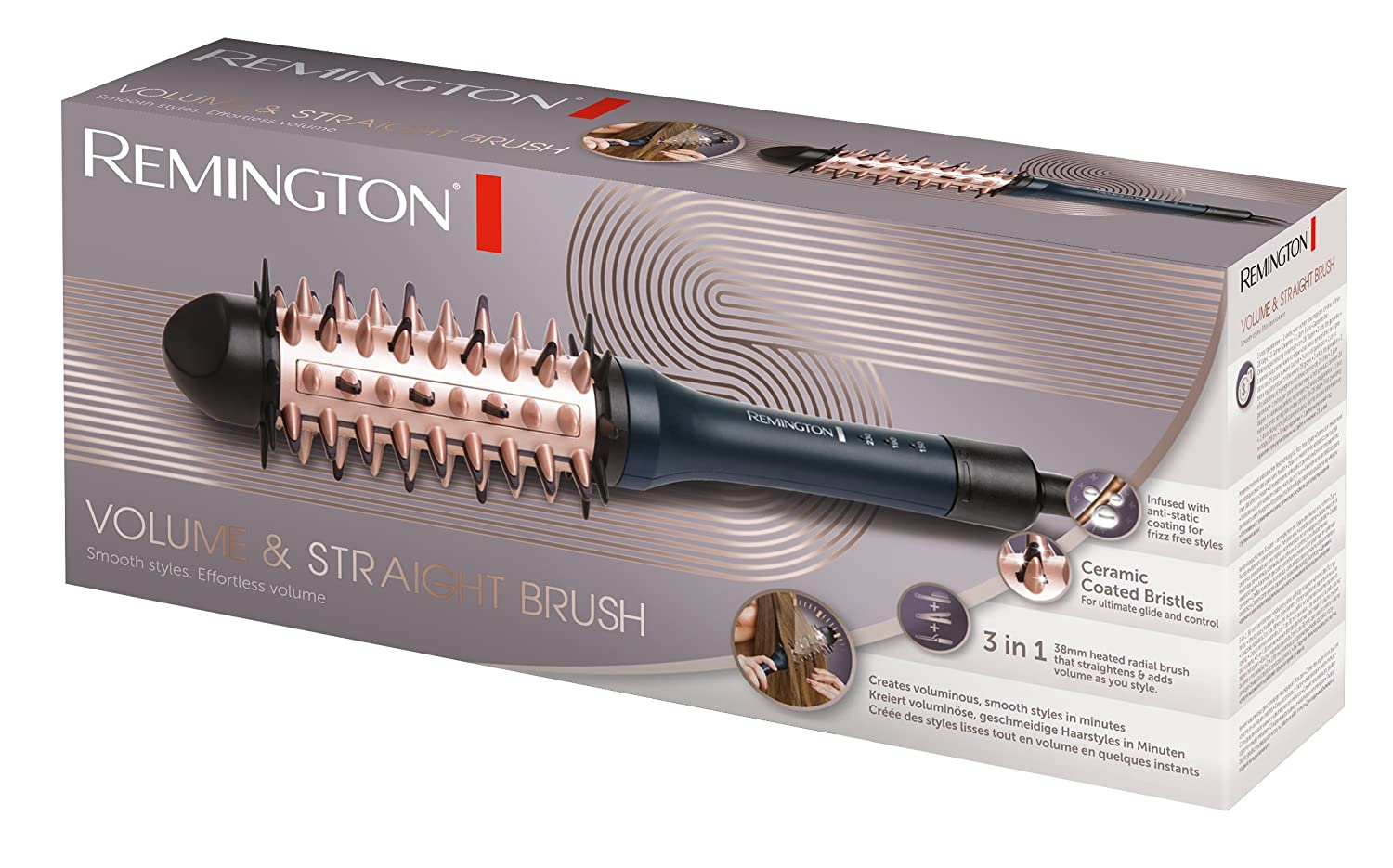 Remington CB7A138 - Volume & Straight Brush, cepillo alisador: Amazon.es: Salud y cuidado personal