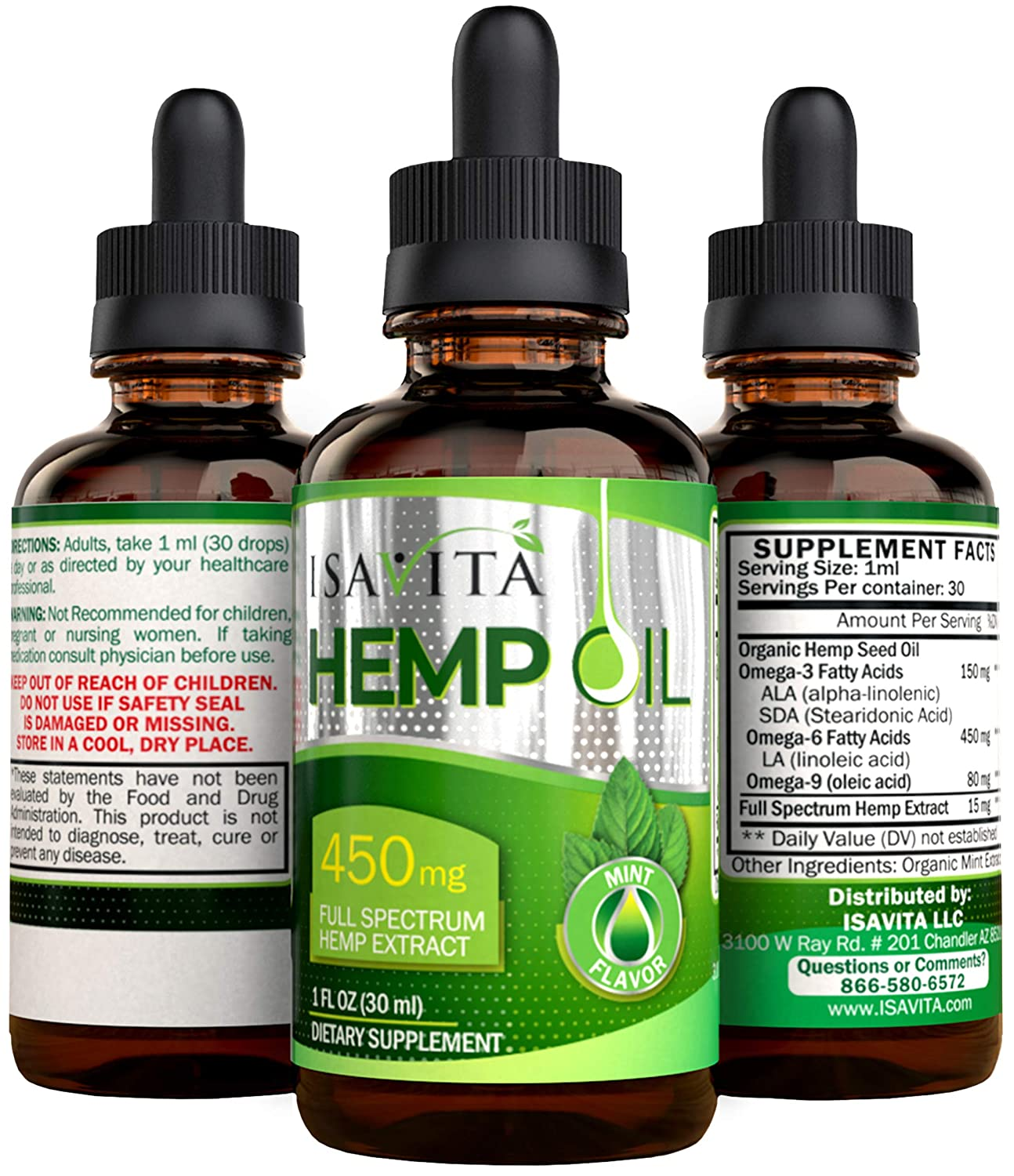 Amazon.com: Hemp Oil Pain Relief Anxiety - Best Calming Reduce Stress Improve Mood From Natural Organic 450mg Full Spectrum Extract With 600mg Omega 3 6 9 ...