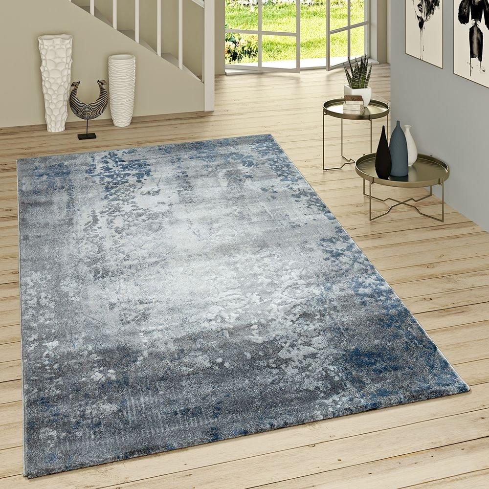 Paco Home Kurzflor Teppich Modern Orientalisches Muster Vintage Style Ombre Look Grau Blau, Grösse 155x230 cm
