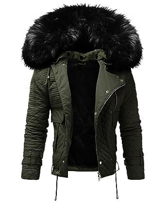 buy online 0b1e6 43199 CRONE Busted Herren Designer Fellkragen Jacke Pelzkragen Übergangsjacke  Lederjacke