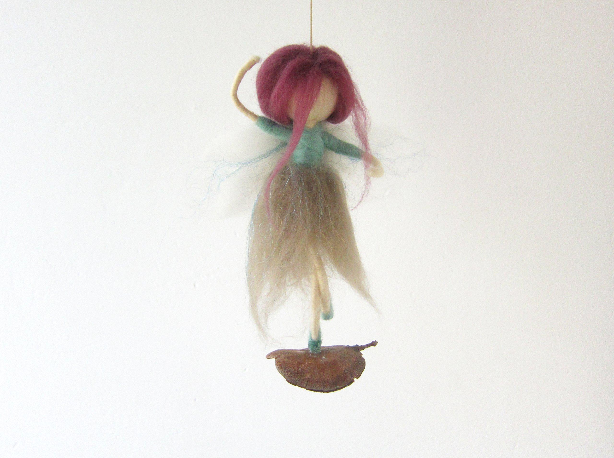 Needle Felted Ballerina Fairy Dancing On A Tree Pod, For Home Decor Or Girl Nursery, Fantasy Whimsical Handmade Figurine Art Doll