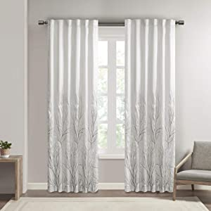 """White Curtains For Living room , Transitional Rod Pocket Curtains For Bedroom , Embroidered Andora Back Tab Fabric Window Curtains , 50X84"""", 1-Panel Pack"""