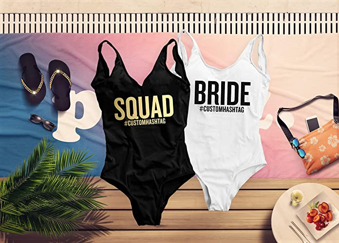 9c931b3f5614 Image Unavailable. Image not available for. Color: Squad Bachelorette One  Piece Swimsuit, Custom ...