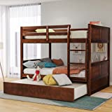 Full Over Full Bunk Bed for Kids Teens, Detachable Wood Full Bunk Bed Frame with Twin Trundle