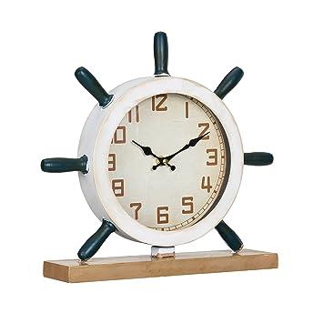 0529b439de51  en.casa ® Reloj de mesa decorativo diseño marinero timón - pantalla  analógica - 34 x 8 x 32 cm - de varios colores- cristal  Amazon.es  Hogar