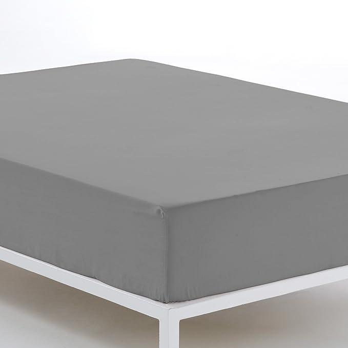 ESTELA - Sábana Bajera Ajustable Combi Color Plomo - Alto Especial (35 cm) - Cama de 105 cm. - 50% Algodón / 50% Poliéster - 144 Hilos: Amazon.es: Hogar