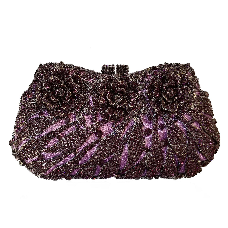 Flada Rhinestones Flower Clutches Bags for Girl's Wedding Party Evening Handbag Purse by Flada