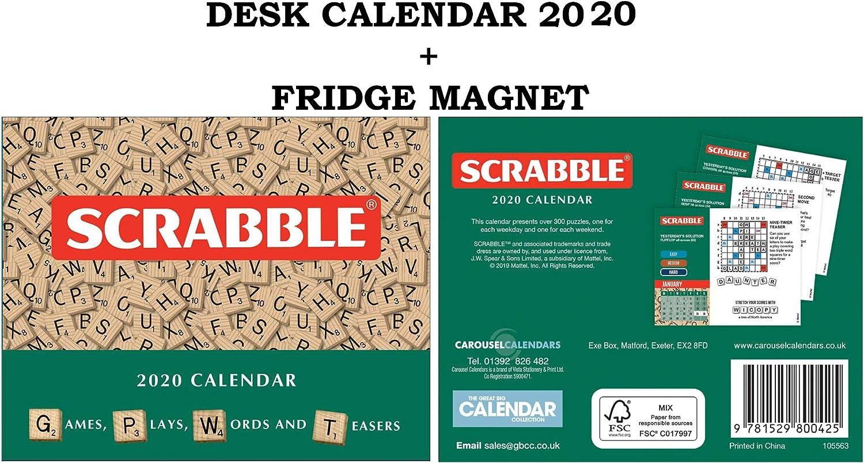 Scrabble OFICIAL Day to Day Desk CALENDARIO 2020 + Metal Machine IMÁN DEL REFRIGERADOR: Amazon.es: Oficina y papelería