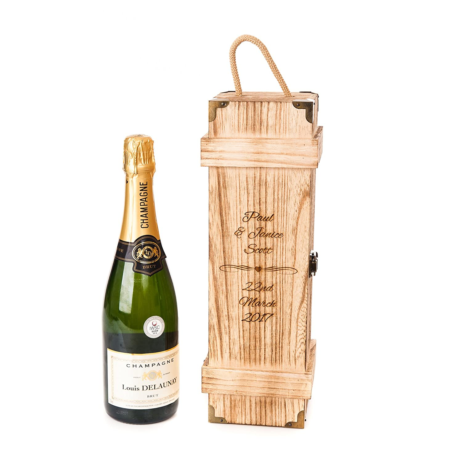 Personalised Engraved Wooden Vintage Chest Style Wedding, Engagement Valentines Day Gift Wine Gift Box Champagne Prosecco Hoolaroo 5060242507564sx