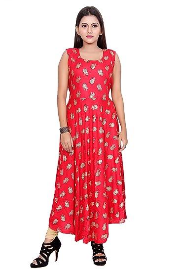 Dhruvi Western Wear Rayon Long Maxi Dress For Women Girls