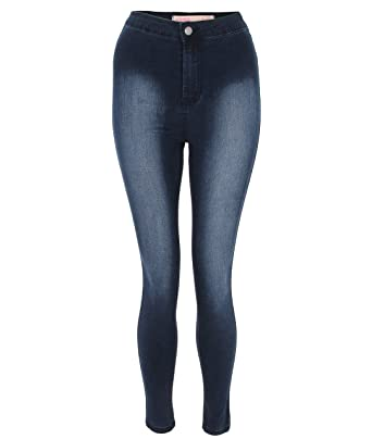 2689fffad15a KRISP® Damen Dunkel Blaue Jeans Leggings Jeggings Hoher Bund Skinny  Angepasste Hosen Jeanshosen Schmale Passform