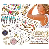 JZK® 10 Fogli assortiti Metallic Flash Temporary Tattoos gioielli, impermeabile