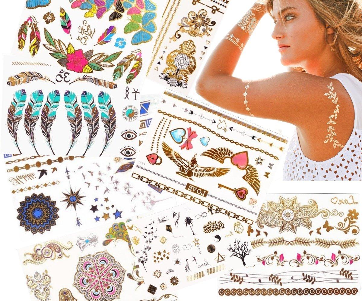 JZK® 10 Sheets Assorted Metallic Flash Temporary Jewellery Tattoos, Waterproof (A)