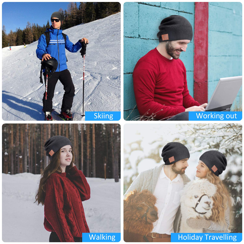 Bonnet de Musique Unisexe en Tricot sans Fil V 5,0 Cadeaux dhiver de No/ël pour Sports en Plein Air Chapeau avec Casque de Bluetooth Bonnet Bluetooth avec Haut-Parleurs St/ér/éo HD Int/égr/és Noir