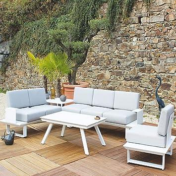 Residence Salon Bas d\'angle Capri Blanc + 1 Fauteuil: Amazon ...