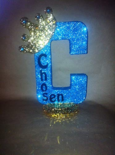 Prince theme or Princess theme 10 sparkling letters or numbers! Personalized Royal themed centerpieces for baby shower centerpieces Glitter crown centerpieces