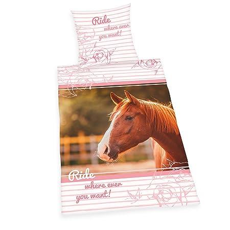Copripiumino Singolo Con Cavalli.Herding 4451208050 Set Copripiumino Singolo Cavallo Cotone