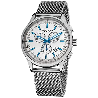e6d0acc9 Father's Day Gift - Akribos Multifunction Stainless Steel Chronograph Watch  - 4 Sub-Dials Complications Quartz - Men's Heavy Bracelet Watch - AK1072