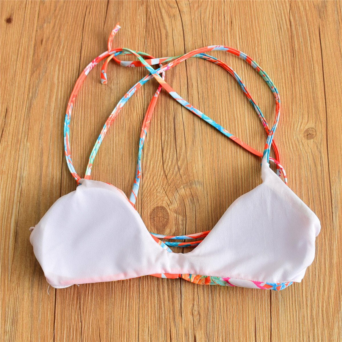 CUPLUM Floral Printing Swimwear Triangle Bikini For Women (S(US 2-4), RED/CB1704)