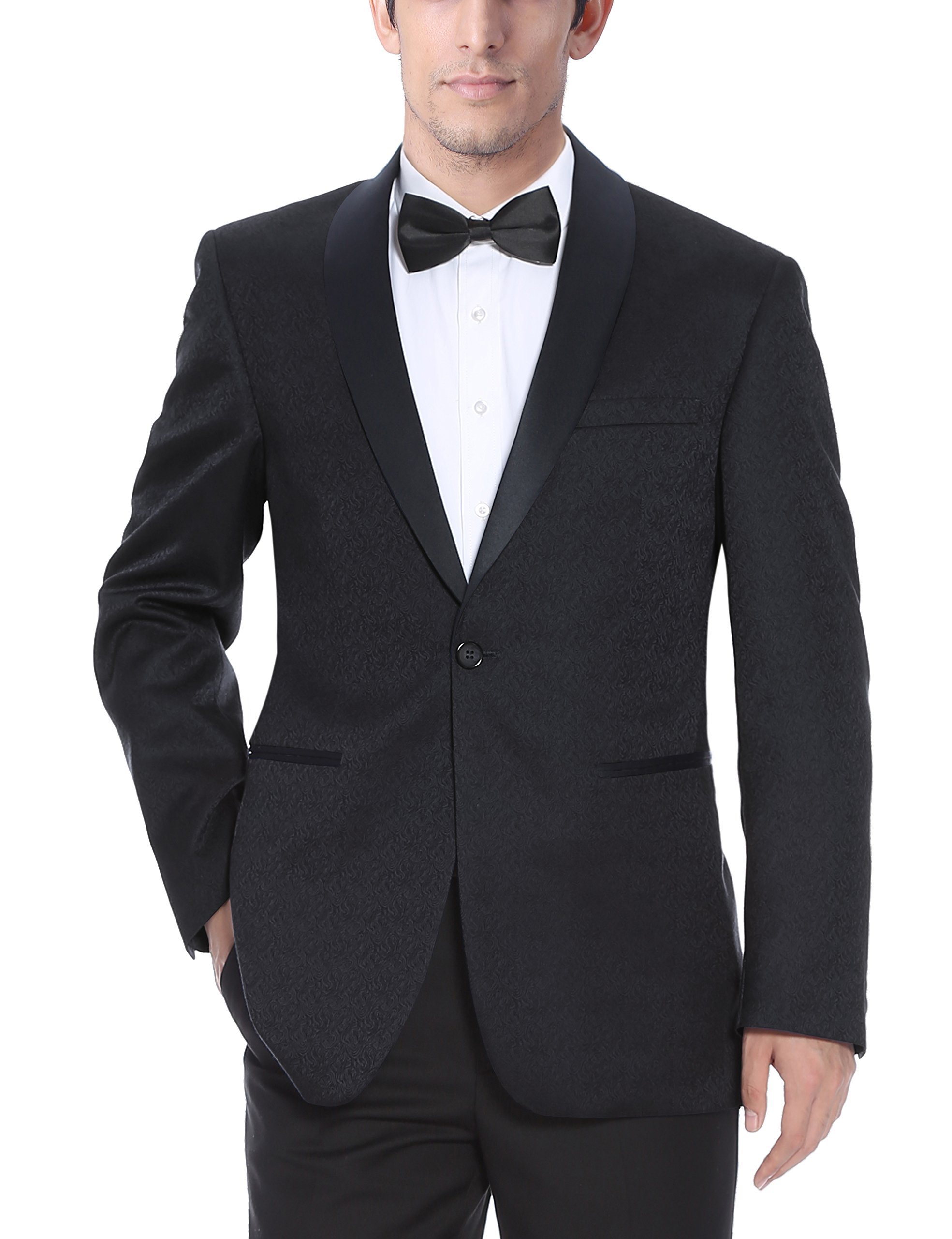 Chama Mens Black & Navy Blue Textured Tuxedo Dinner Jacket Blazer with Shawl Collar (Black, 44L)