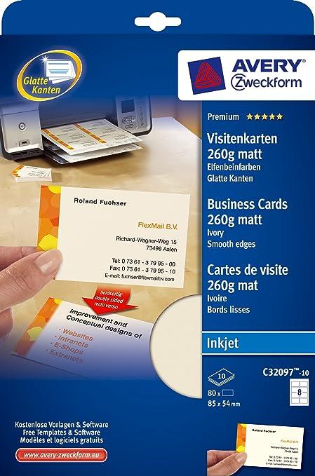 Avery Zweckform C32097 10 Premium Visitenkarten 85 X 54 Mm