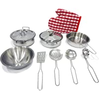 Popsugar Kitchen Play Accessories Set - Play Food and Stainless Steel Toys