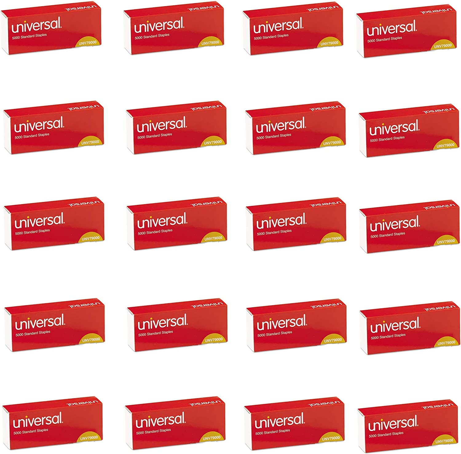 UNIVERSAL Office Products 79000VP Standard Chisel Point 210 Strip Count Staples, 5,000/Box, 5 Boxes per Pack, 4 Pack