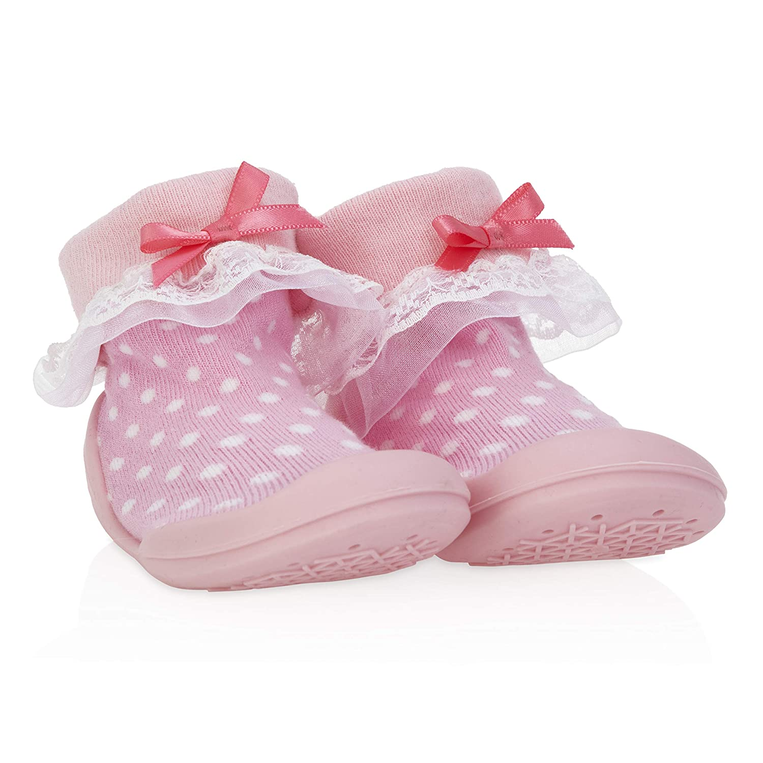 Nuby Snekz Comfortable Rubber Sole Sock Shoes for First Steps- Pink Polka Dots/Small 7-14 Months