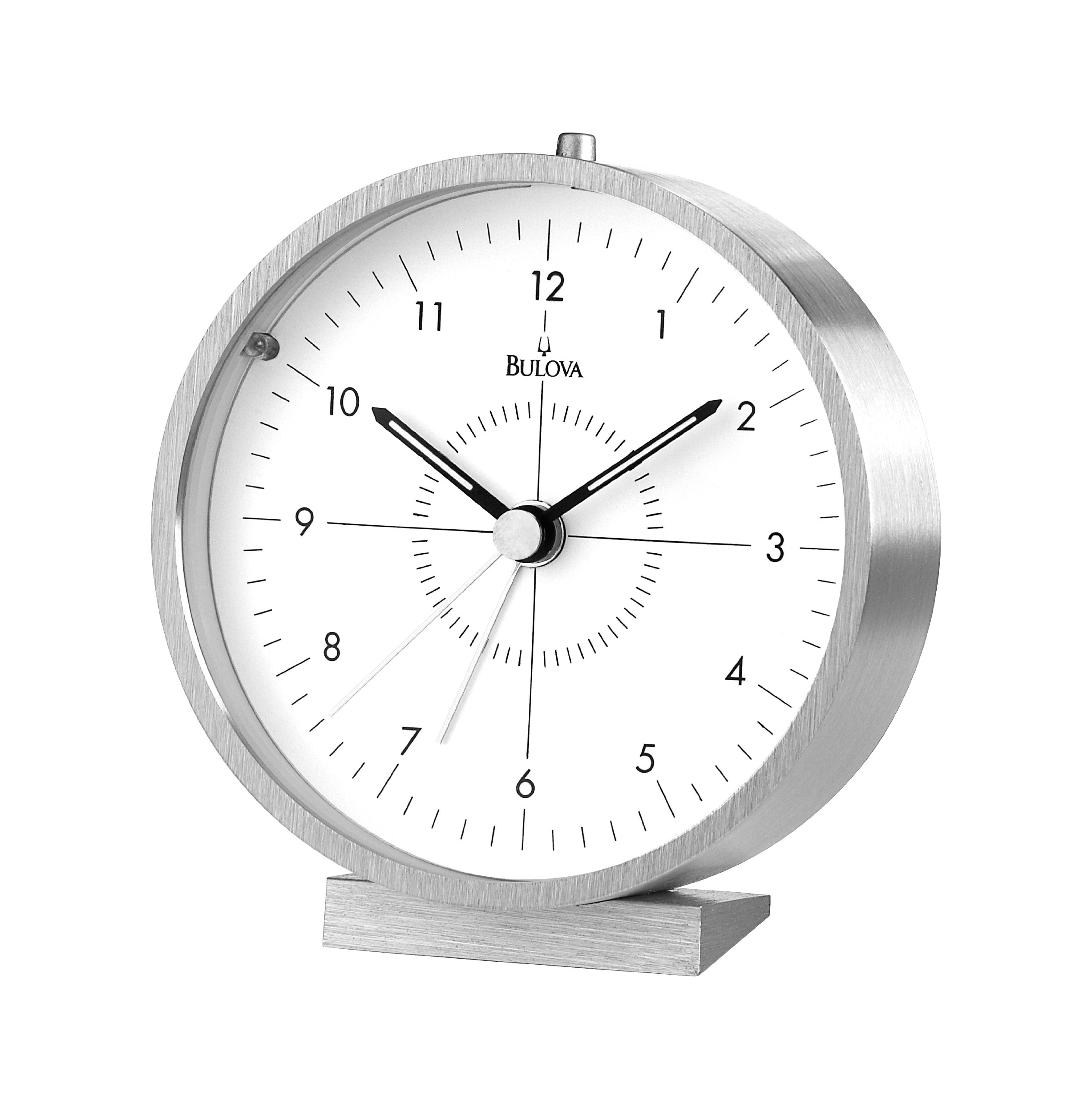 Bulova B6844 Flair Alarm Clock, Silver - Aluminum Case And Base Brushed Finish Luminous Hands - clocks, bedroom-decor, bedroom - 81y6hfCA8iL -